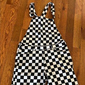 Checker Overalls Shorts Punk Clown Costume Crazy